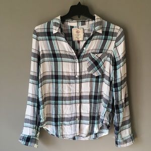 Plaid Button Down Relaxed Fit Rayon Top Large